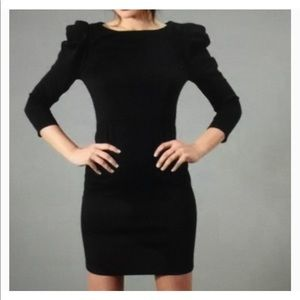 BB Dakota Pleated Shoulder Black Dress